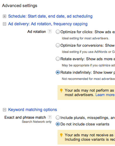 Advanced Settings for Google Search Network